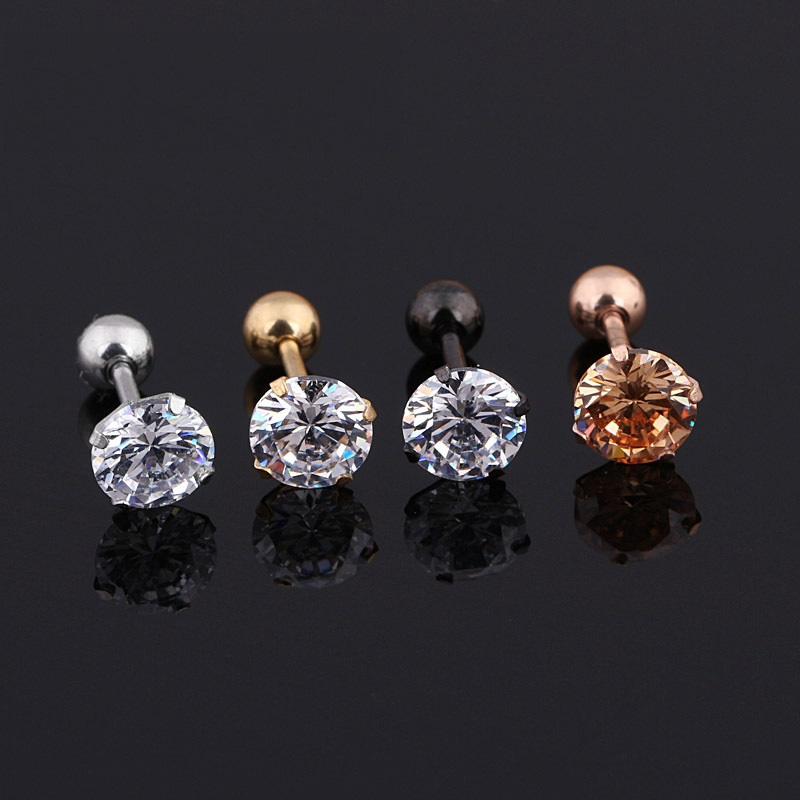Four-Claw Round Crystal Stud Earrings