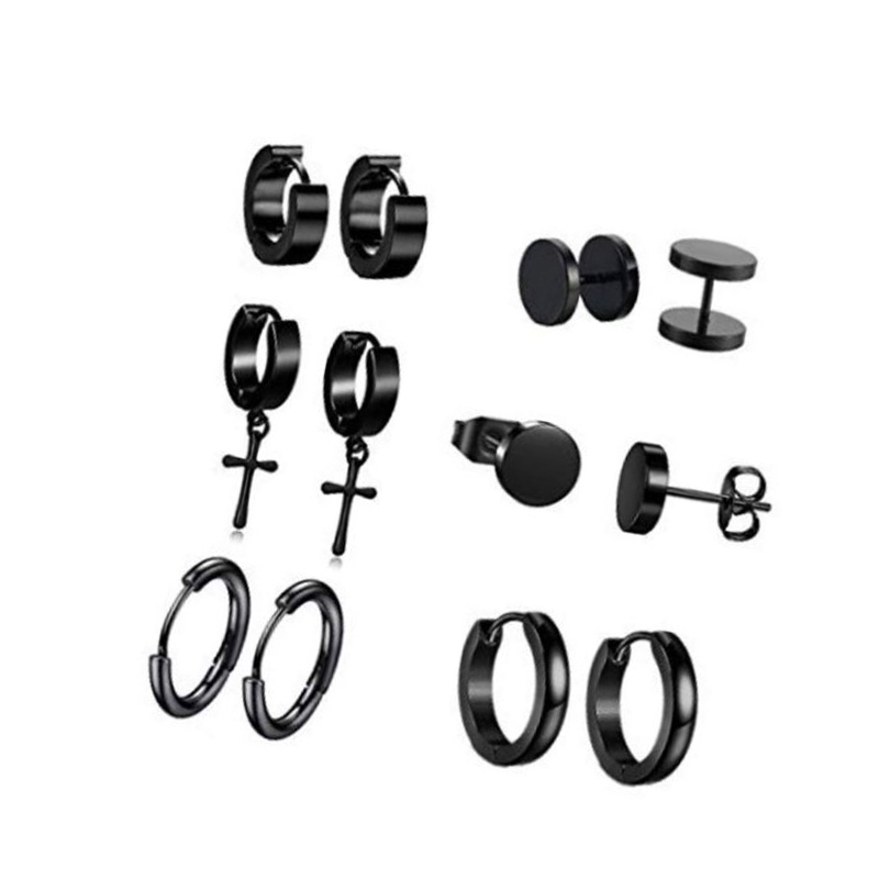 Black Gothic Earring Set (6 Pairs/Set) for Men's Accessories