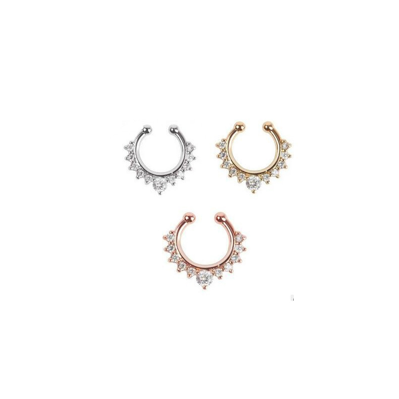 Faux Crystals Fake Septum Ring