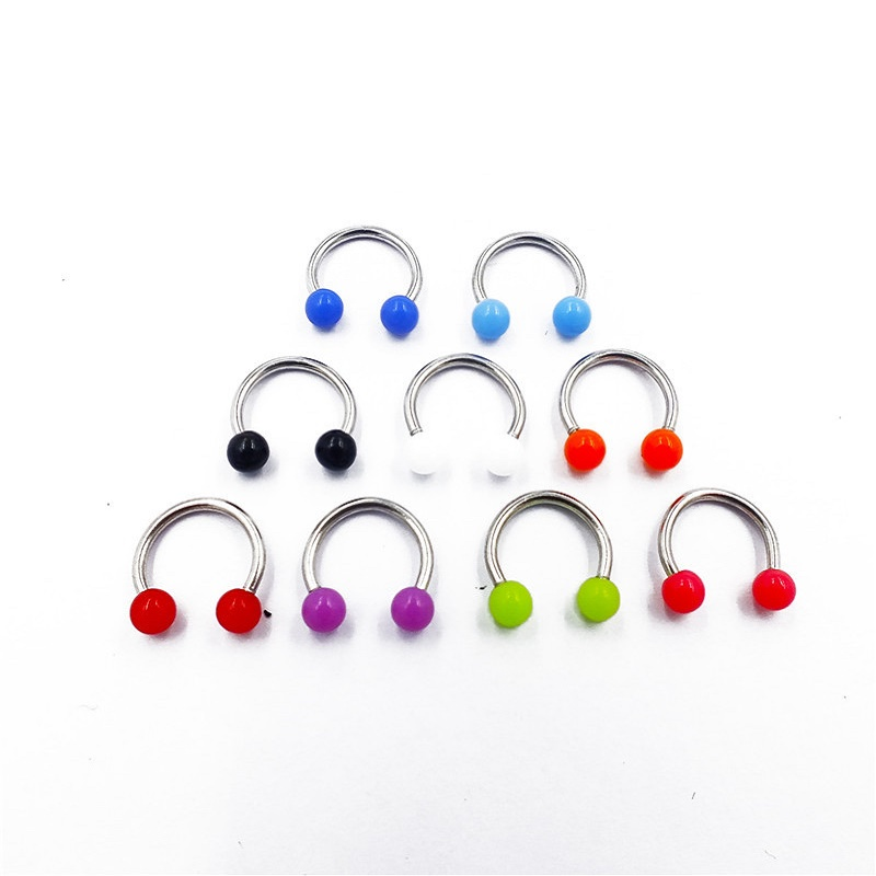 Acrylic Bead Ends Nose Ring