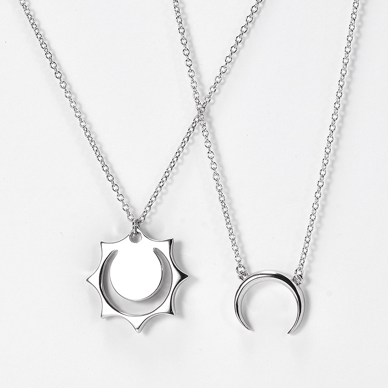 Cute and Unique Silver Necklace for Cute Couple Necklace