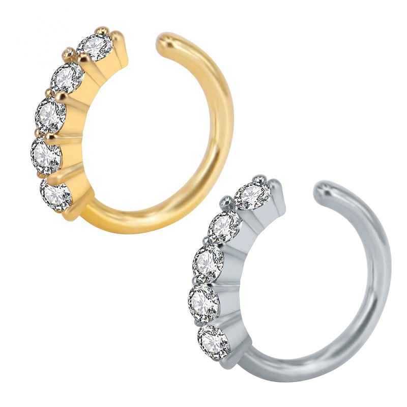 Faux Zircon Nose Hoops
