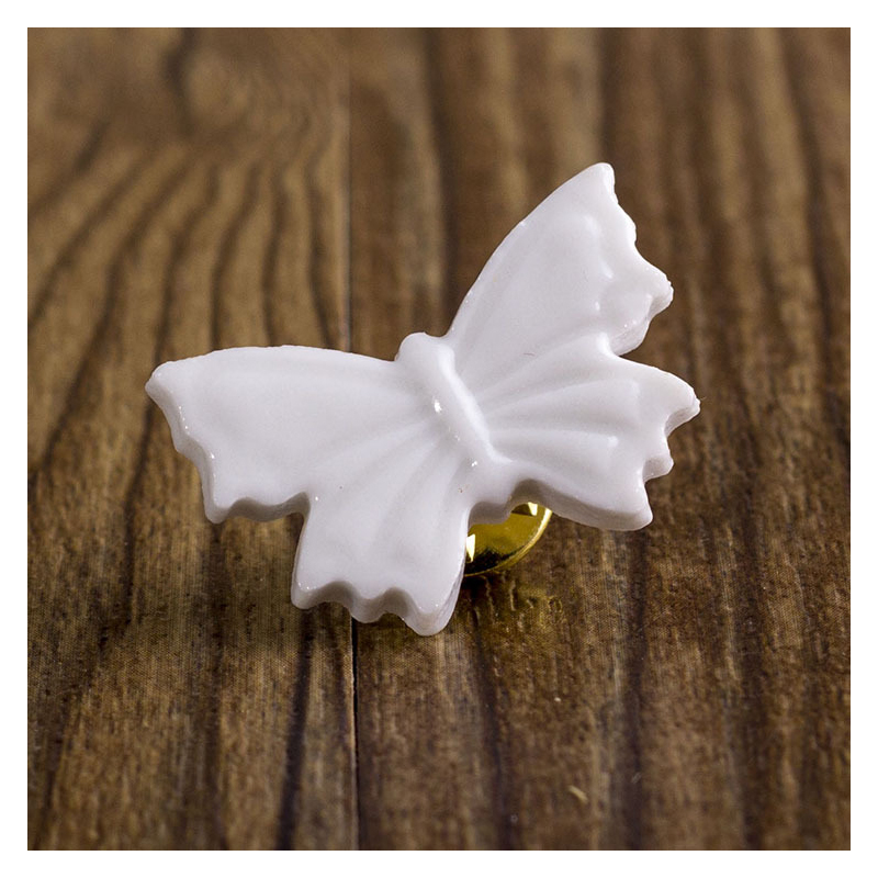 White Ceramic Brooch