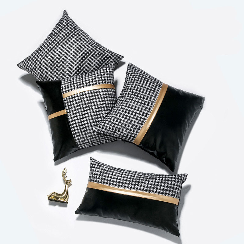 Lariette Houndstooth and Faux Leather Pillow Case
