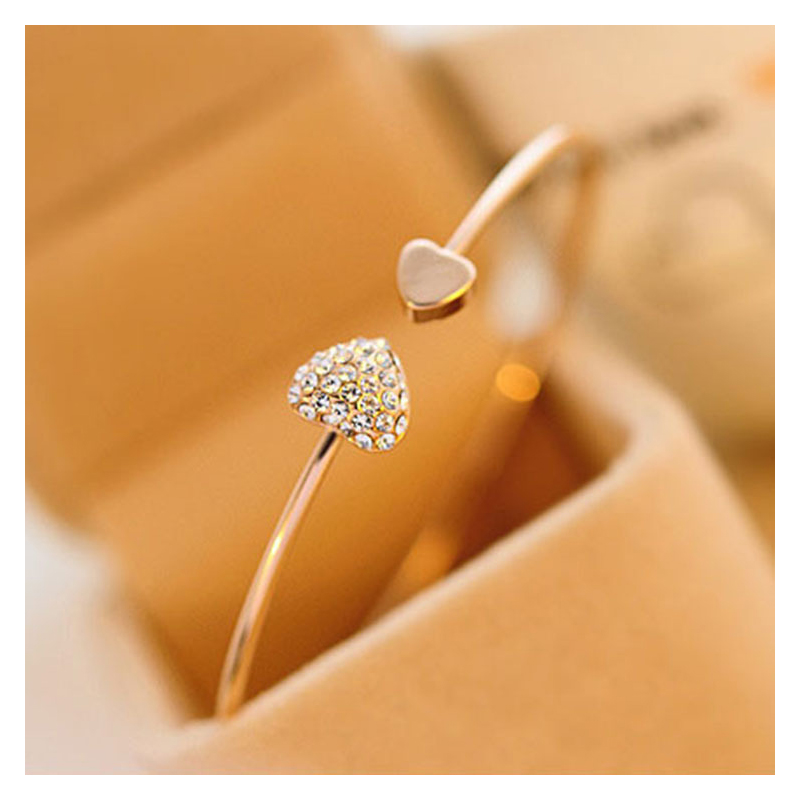 Two Hearts Meeting Open Bangle