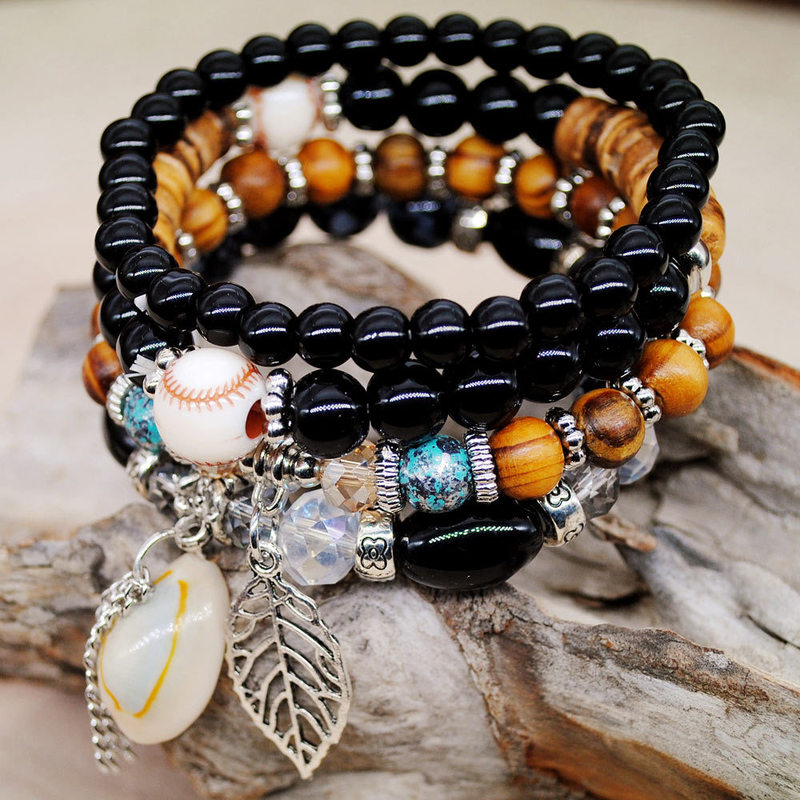 Florea Stacked Mixed Bead Color Bracelet