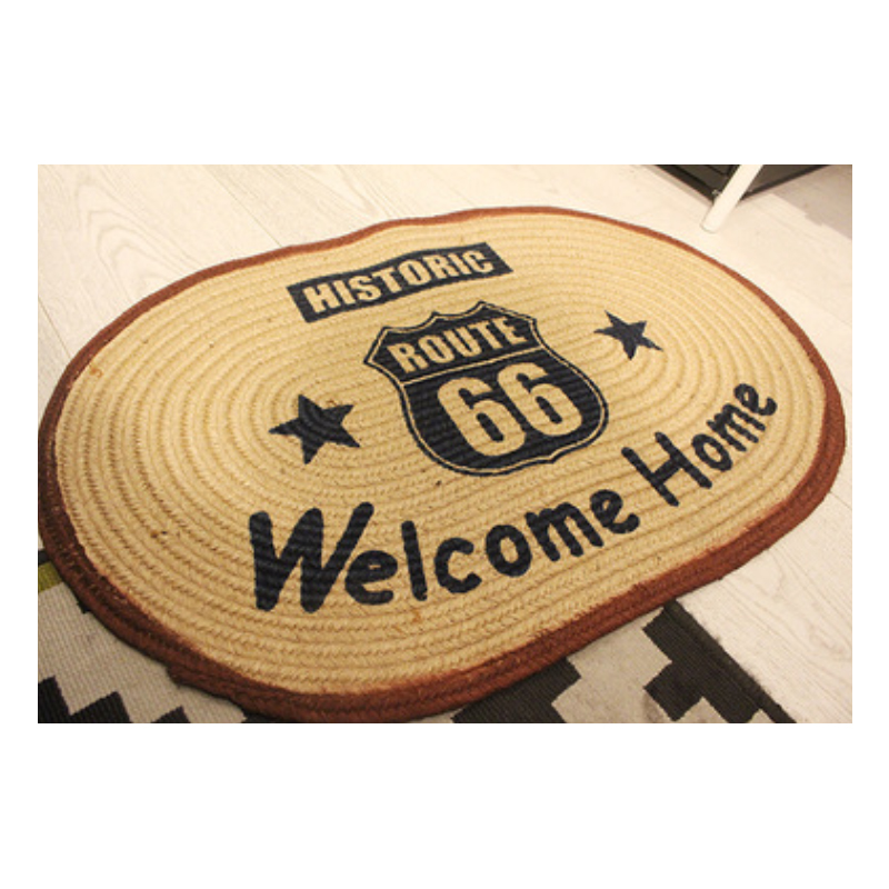 Route 66 Welcome Home Straw Mat