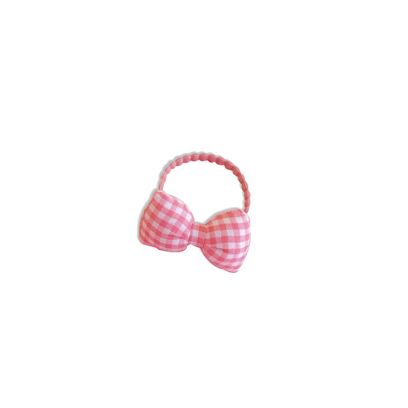 Poppie Pink Plaid Bow Hair Tie