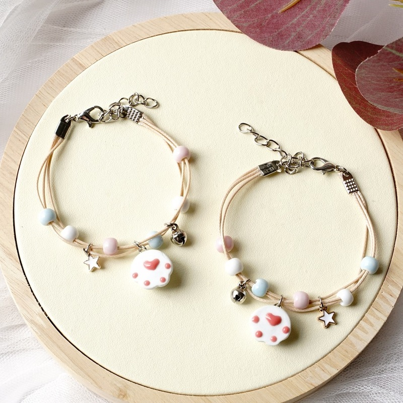 Cat Paw Print Beaded Charm Bracelet