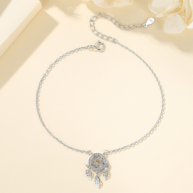 Silver-Plated Cable Chain Anklet with Dream Catcher Pendant for Women
