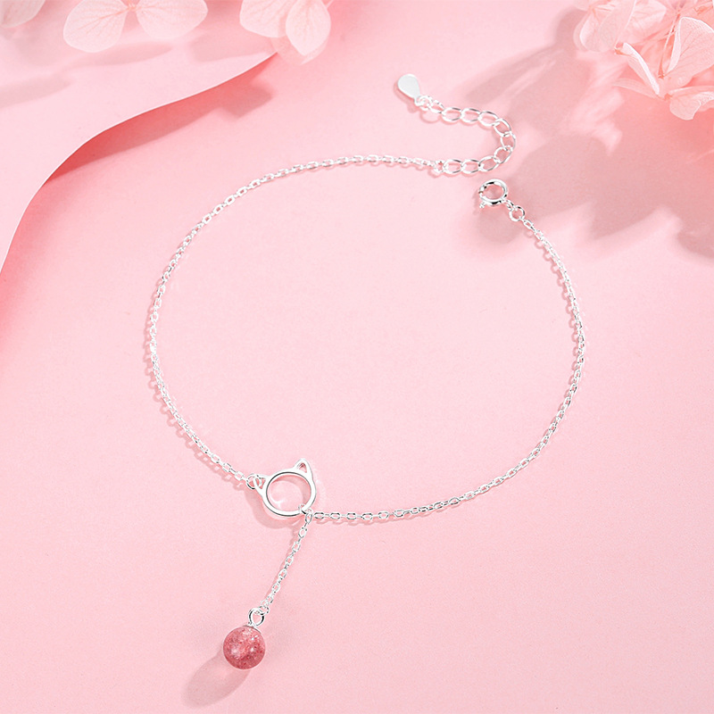 Minimalist Cat Pendant with Round Drop Chain Anklet for Dresses