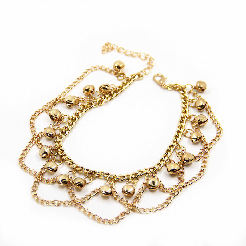 Wazima Golden Chains and Bells Anklet