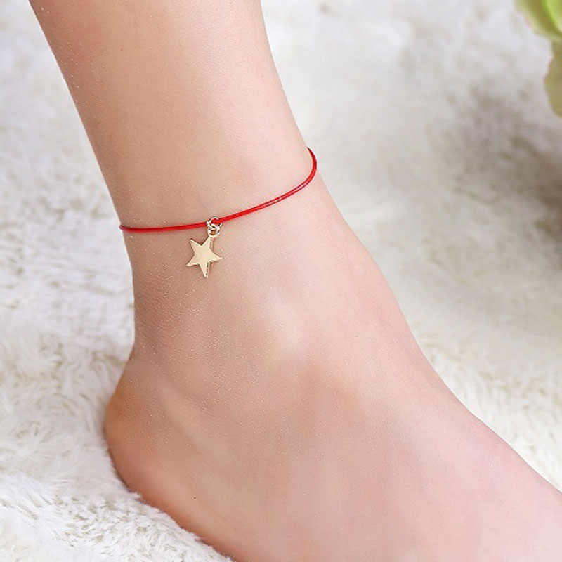 Golden Star and Red Thread Anklet