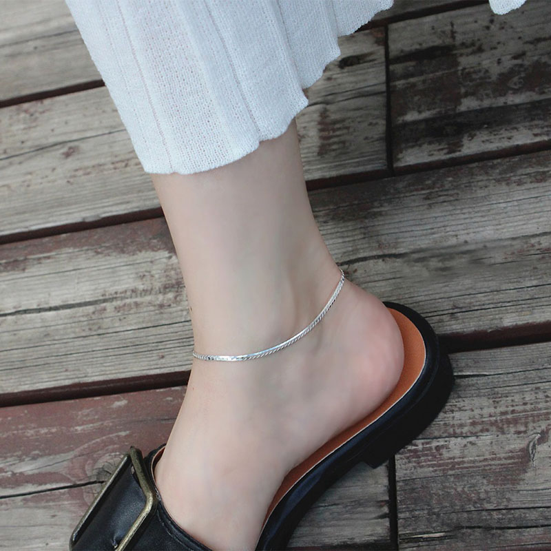 Assie Silver Snake Chain Anklet
