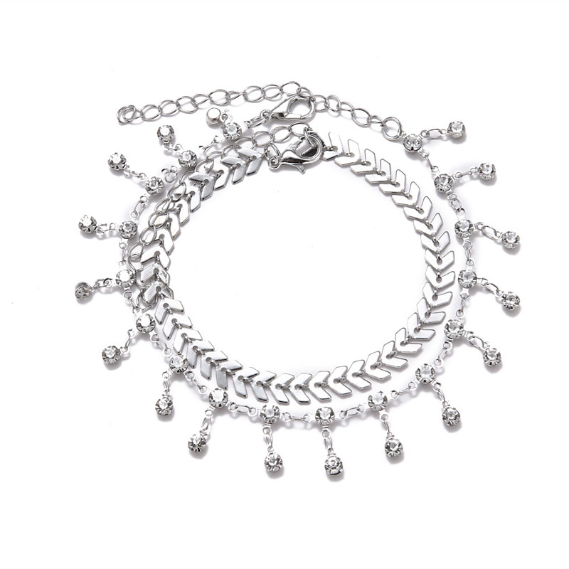 Charibdys Silver Chain Anklet Pair