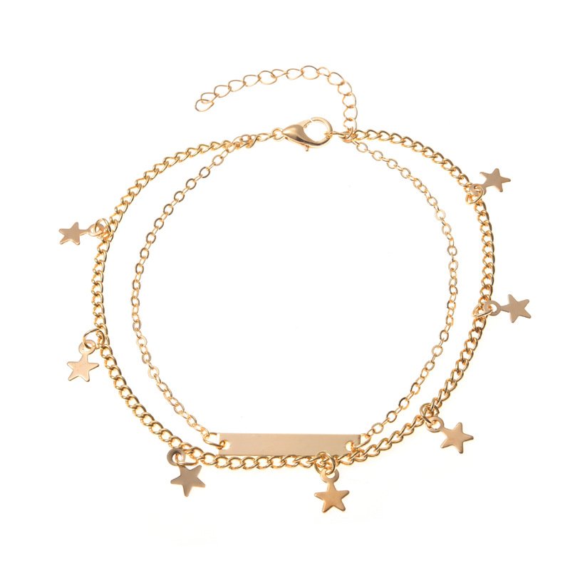 Bar and Stars Two Layer Anklet