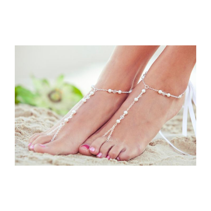 Marikel Faux Pearl and Chain Foot Adornment