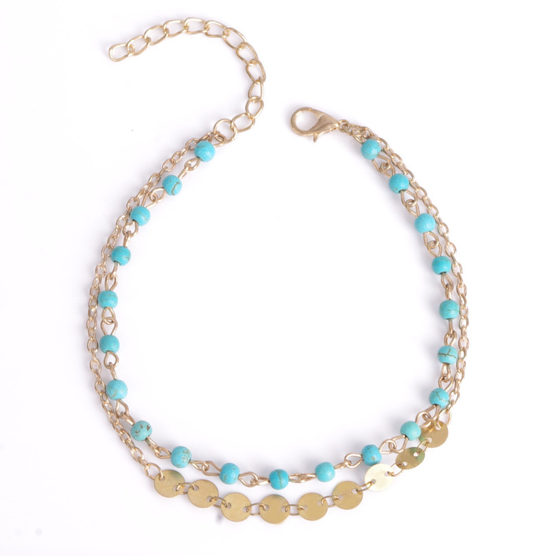 Avanna Blue Beads and Gold Discs Anklet