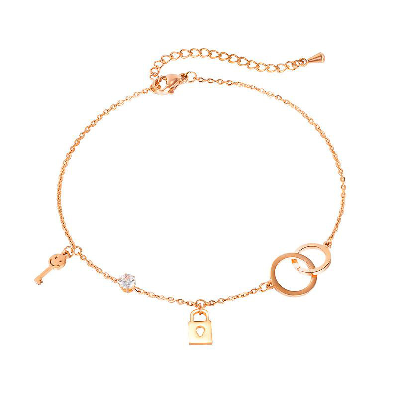 Happy Lock and Key Anklet
