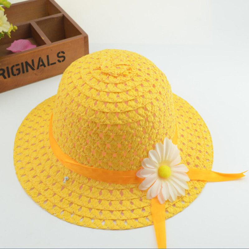 Daisy Summer Straw Hat for Kids