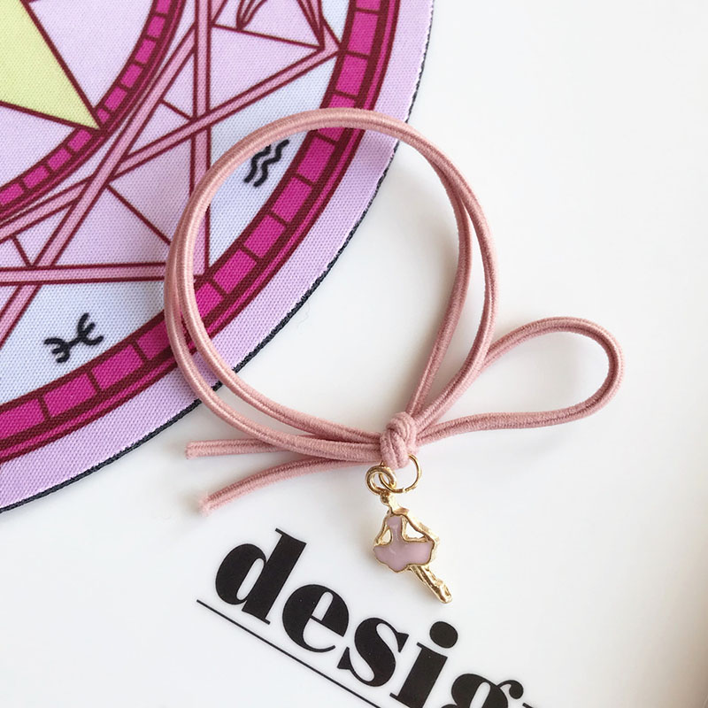 Princess Pink Metal Charm Hair Tie