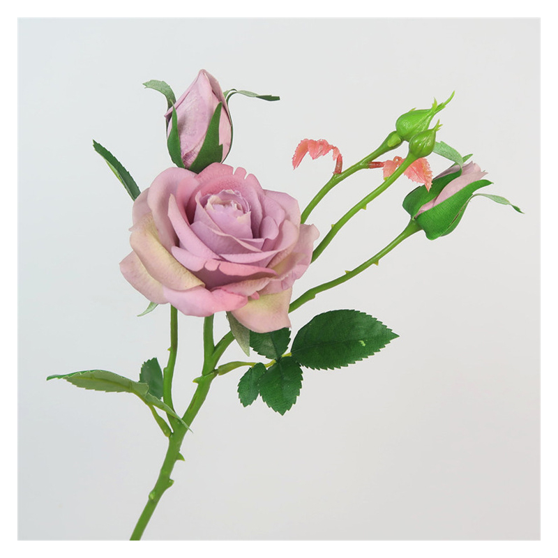 Faux Rose and Rose Buds Stem