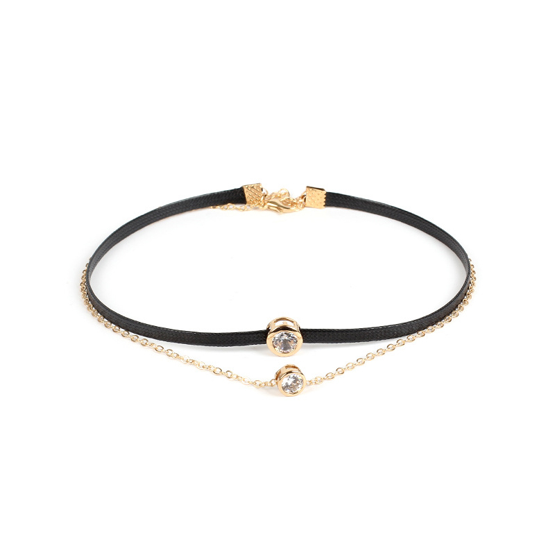 Golden Crystal Charm Two Layer Choker