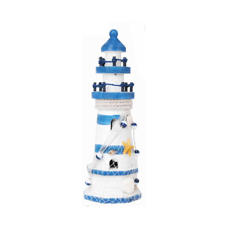 Two-Tone Lighthouse Wooden Decor for Beach Houses