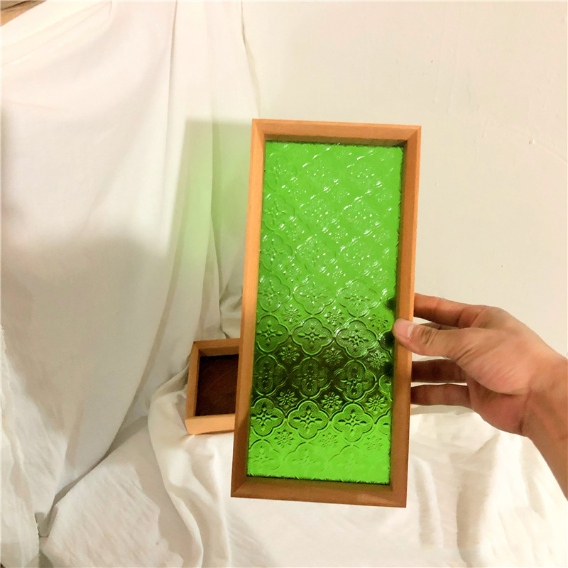 Irami Stained Glass and Wood Desktop Tray