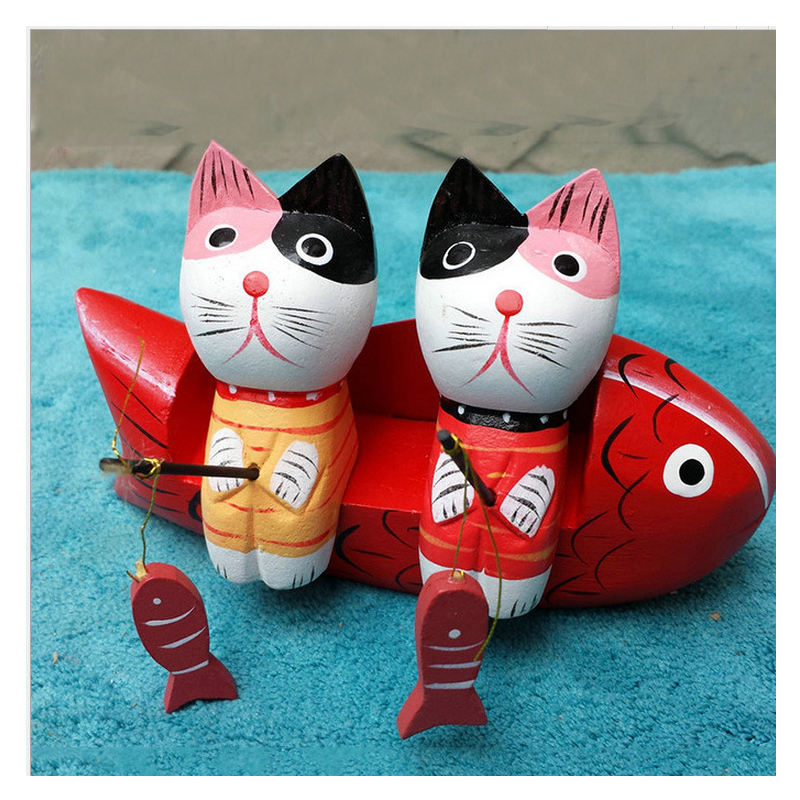 Cat Fishing Wooden Home Décor