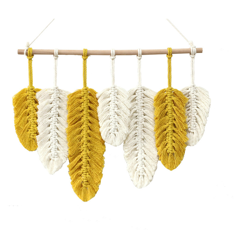 White and Yellow Feathers Hanging Wall Décor