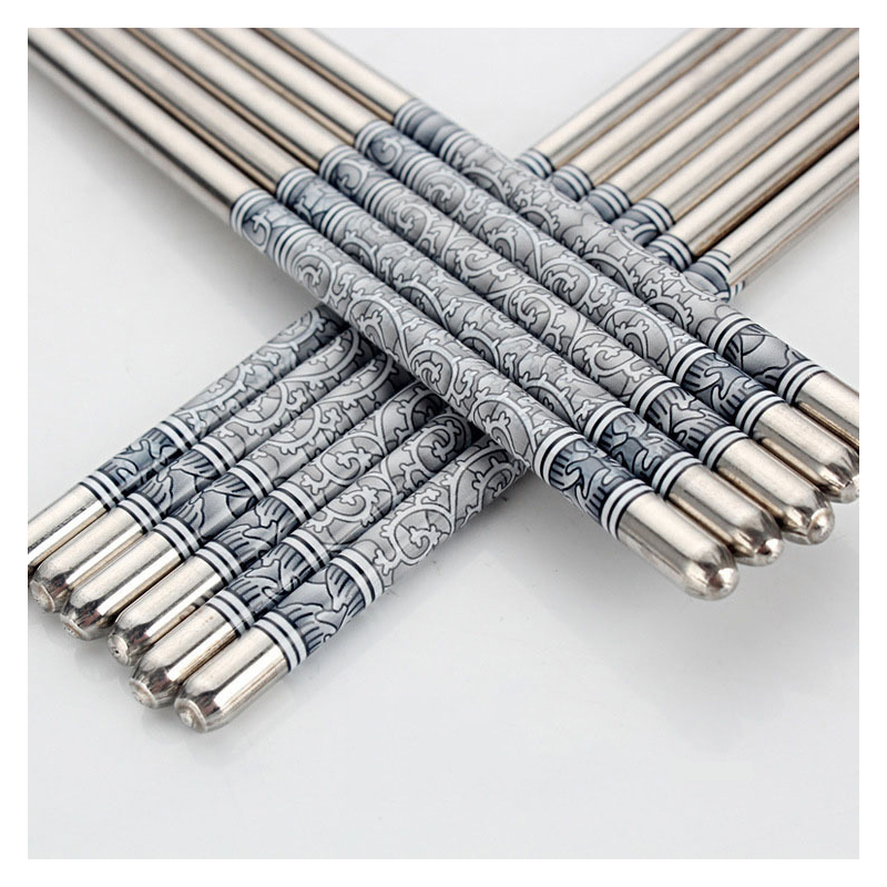 Stainless Steel Chopsticks with Print and Wave Design for Elegant Dinner
