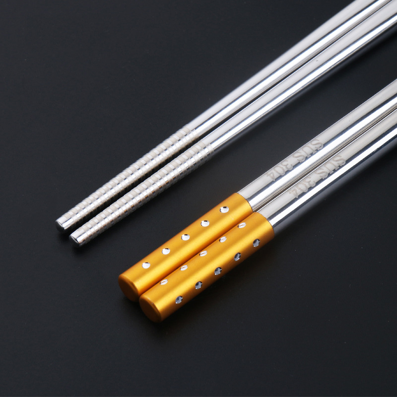 Elegant Stainless Steel Chopstick with Faux Diamonds for Household Tableware