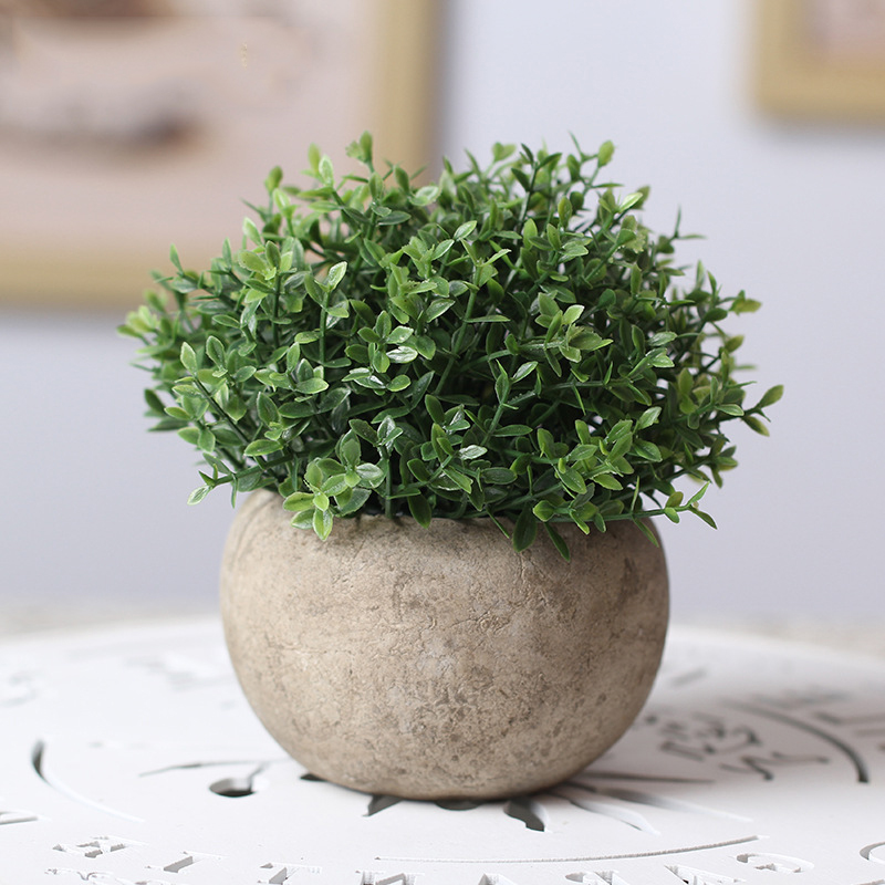 Retro Round Vase with Artificial Plant for Indoor Garden