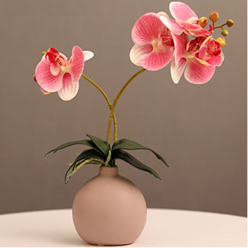 Artificial Orchids with Round Vase