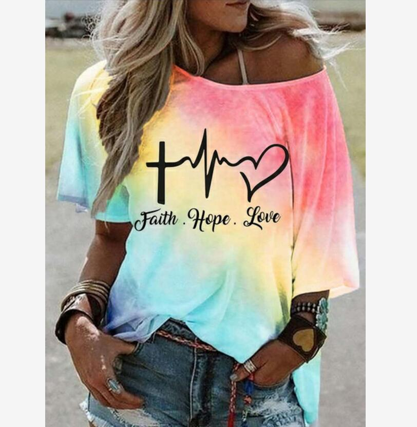 New Colorful  Gradient  T-Shirt for Women's Summer Attire