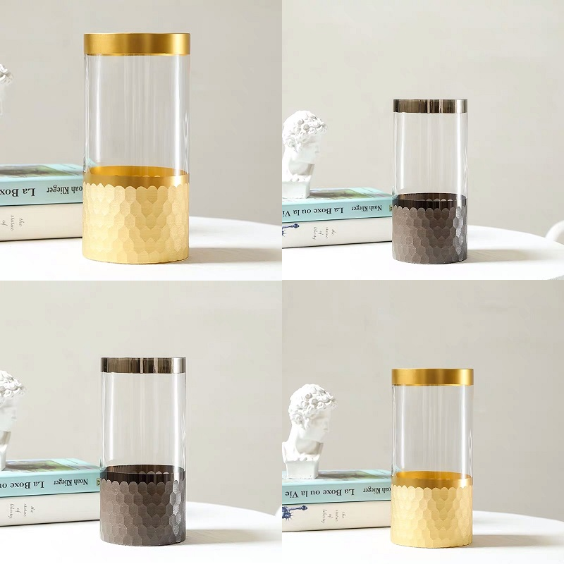 Two-Tone Cylinder Glass Vase for Dried Flowers
