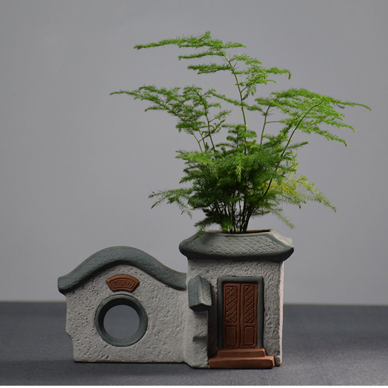 Creative Clay House Flower Pot for Decoration