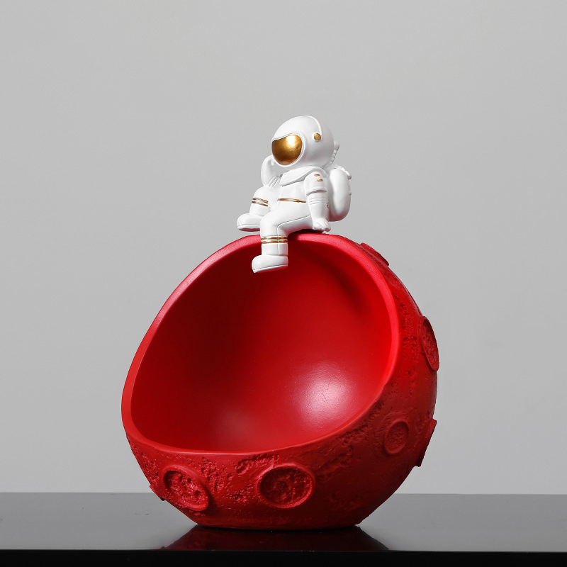Chilling Astronaut and Colored Moon Bowl for Fruit and Snack Display
