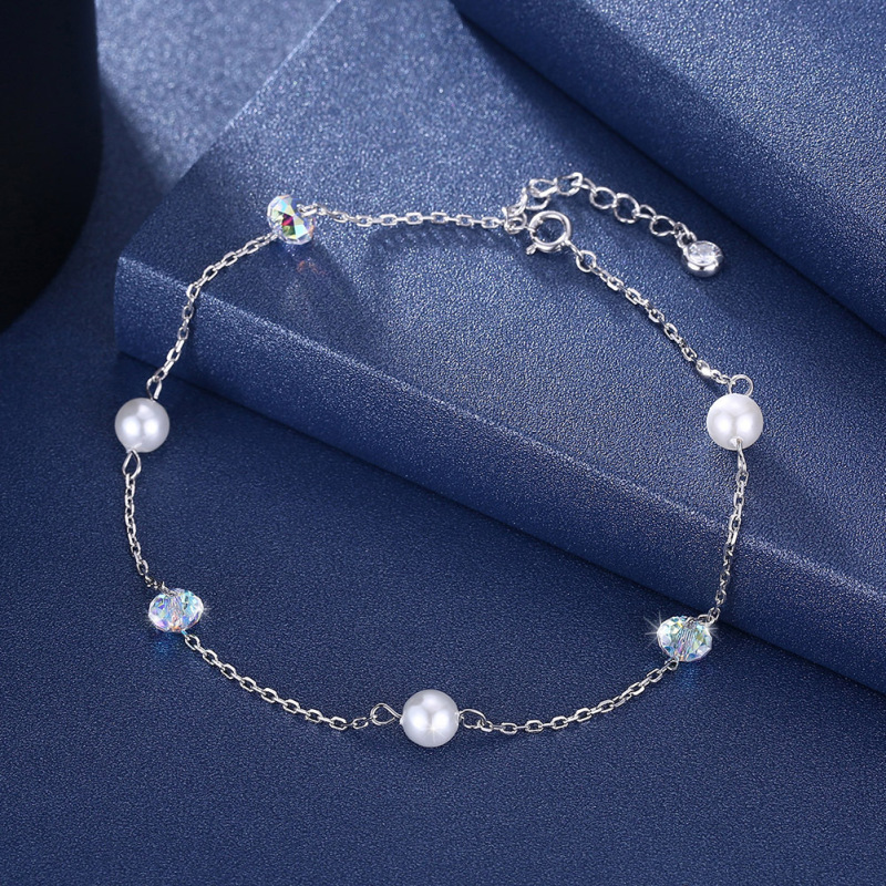 Posh Faux Pearls and Crystal Anklet for Fancy Heels