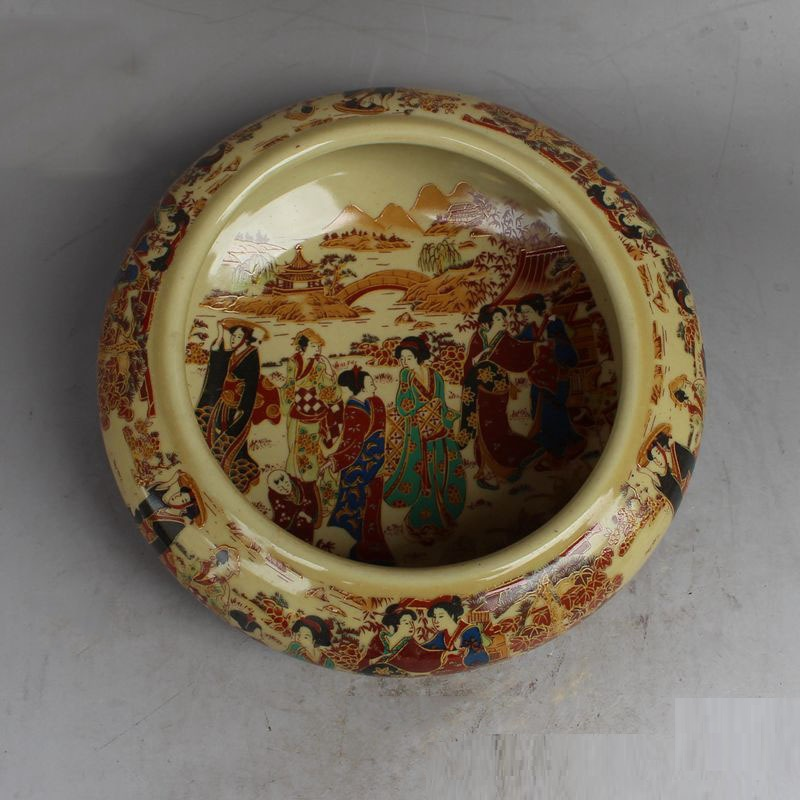 Vintage Painting Ceramic Ash Tray for Bedrooms