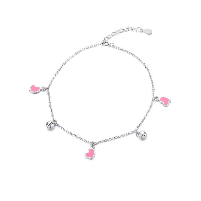Pink Hearts Charm Anklet