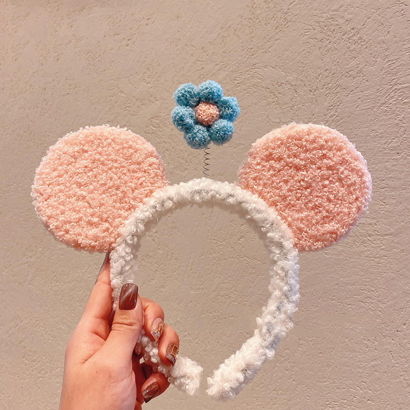 Plush Flower and Ears Headband