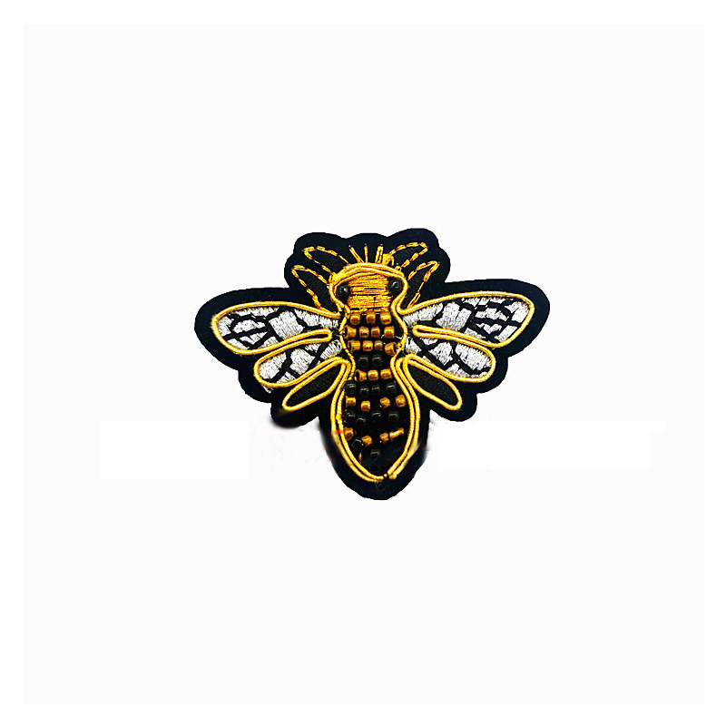 Buzzing Beaded Bee Patch for Jackets