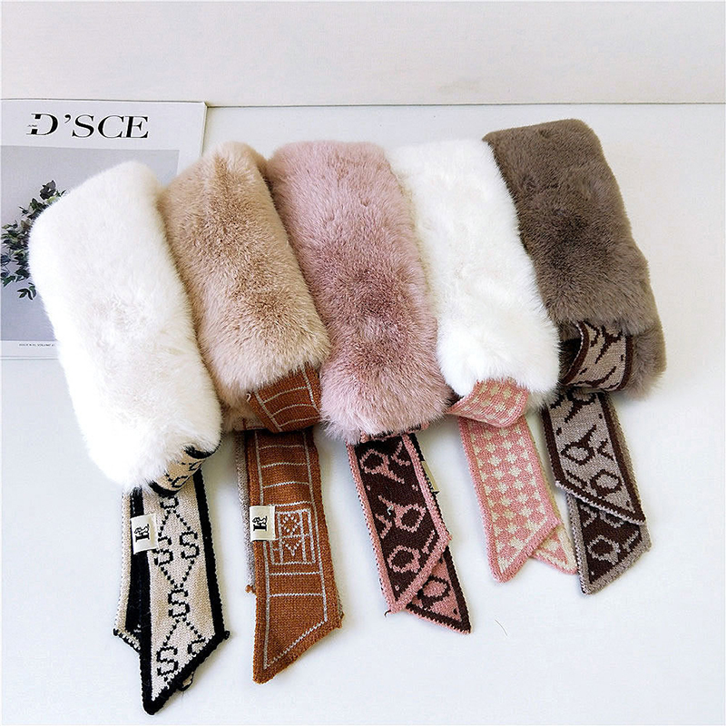 Classy Faux Fur and Plush Fabric Fancy Ribbon Scarves for Warmth in the Winter Season
