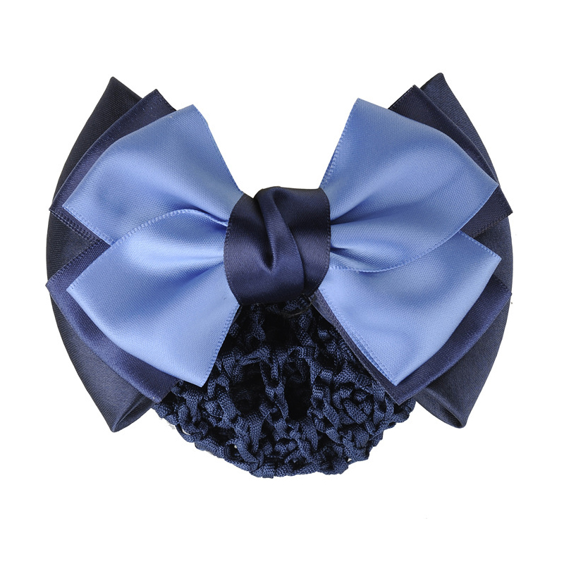 Two-Tone Ribbon Hair Clip with Hair Net for Bank Staff