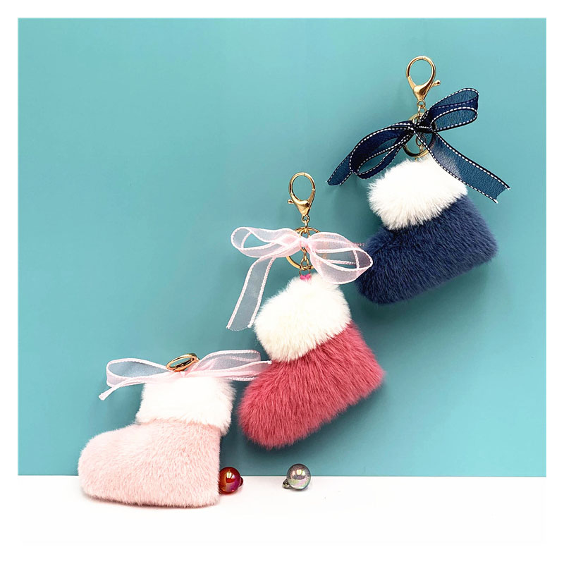 Fuzzy Stocking Keychain for Christmas Lovers