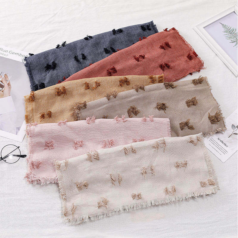 Distressed Cotton Spots Lightweight Scarves for Children's Use