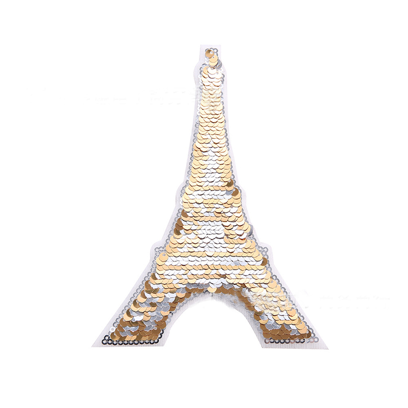 Sequined Eiffel Tower Patch for Cloth Bags