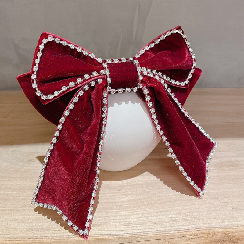 Faux Diamond Studded Ribbon Bow Hair Pin for Prairie Chic Style